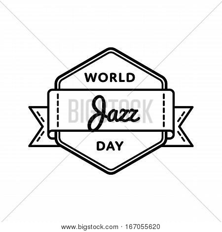 World Jazz day emblem isolated vector illustration on white background. 30 april world musical holiday event label, greeting card decoration graphic element