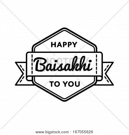 Happy Baisakhi emblem isolated vector illustration on white background. 14 april indian sikh traditional holiday event label, greeting card decoration graphic element
