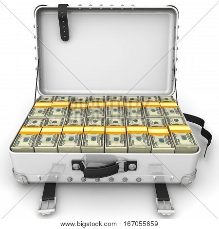 Suitcase full of money. A suitcase filled with bundles of US dollars. Isolated. 3D Illustration