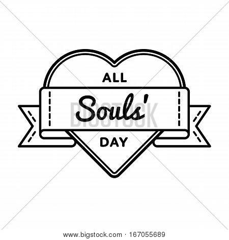 All Souls day emblem isolated vector illustration on white background. 2 november world catholic holiday event label, greeting card decoration graphic element