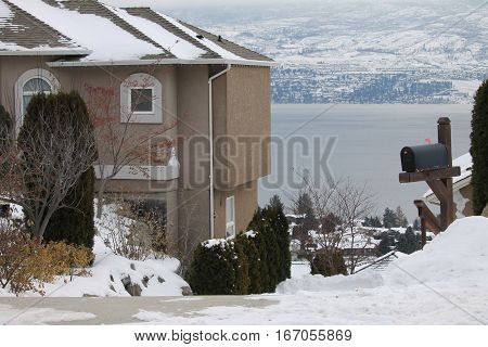 House by the lake - winter scenic