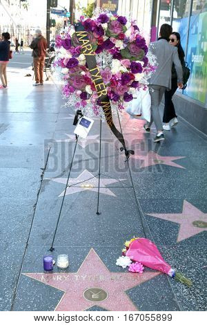 LOS ANGELES - JAN 25:  Memorial Wreath Laid at Hollywood Walk of Fame Star for Mary Tyler Moore on January 25, 2017 in Los Angeles, CA