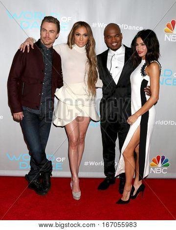 LOS ANGELES - JAN 25:  Derek Hough, Jennifer Lopez, Ne-Yo, Jenna Dewan Tatum at the