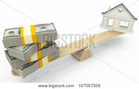 Valuation of real estate. Money (stack of packs of 100 dollar American bills tied with a ribbon) and the symbol of the house weighed in the balance. Financial concept. Isolated. 3D Illustration