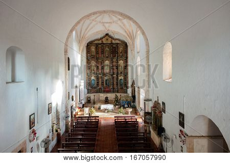 VALLADOLID MEXICO - DECEMBER 29 2016: Interior of the Monastery of San Bernardine of Siena founded by the Franciscan order in the 16th century.