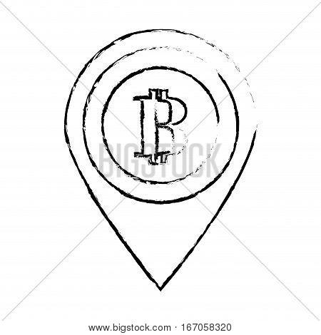 bitcoin icon, digital money symbol, vector illustration