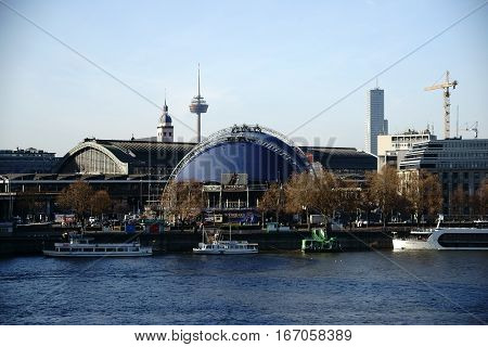 COLOGNE, GERMANY - NOVEMBER 24:  The musical house and the main station in the city center and behind the river Rhine on November 24, 2016 in Cologne.