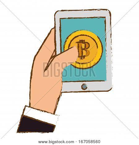 bitcoin, digital golden money symbol, smartphone in the hand