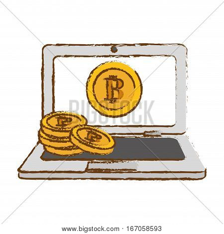 bitcoin gold icon, money symbol online, cash in the computer
