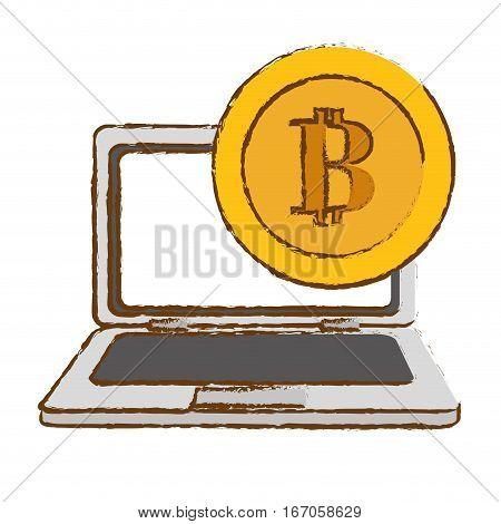 bitcoin gold image, digital cash symbol, vector illustration