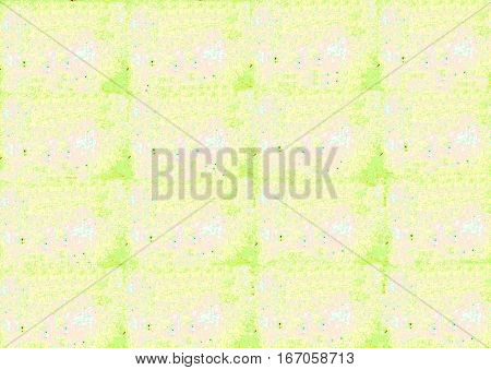 A grid-like representation with random rust-colored spots on blue green pink white and yellow forms this grunge background.