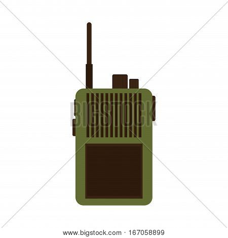 Walkie talkie military communication equipment vector illustration design