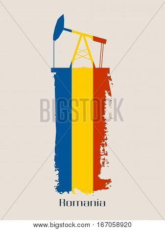 Oil pump icon and grunge brush stroke. Energy generation and heavy industry relative image. Vector illustration. Flag of the Romania
