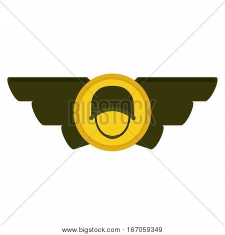 Emblem gold and green with the militar symbol that display military rank