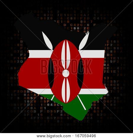 Kenya map flag on hex code 3d illustration