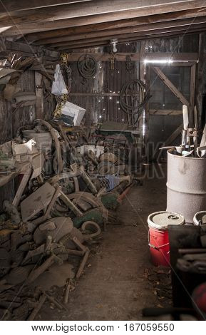 inside of messy parts shed on farm