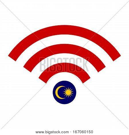 Wifi Icon Symbol Malaysia Flag Concept Vector Illustration