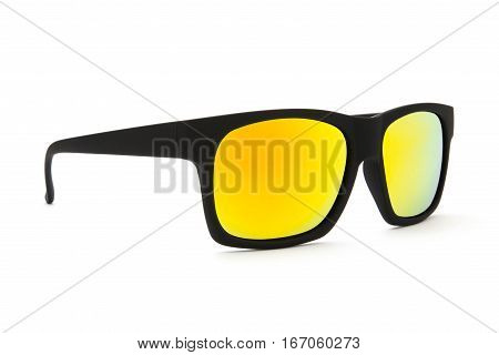 Beautiful black sunglasses whit yellow len on white background
