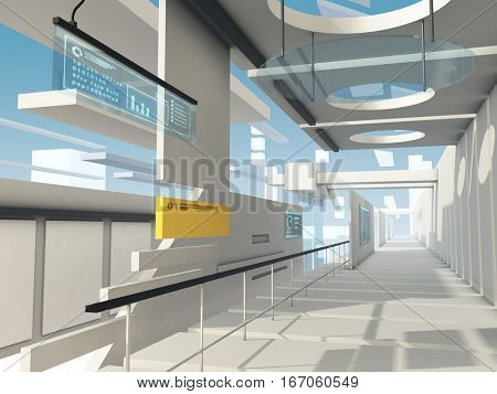 Futuristic hallway with high-tech design elements. 3D illustration.
