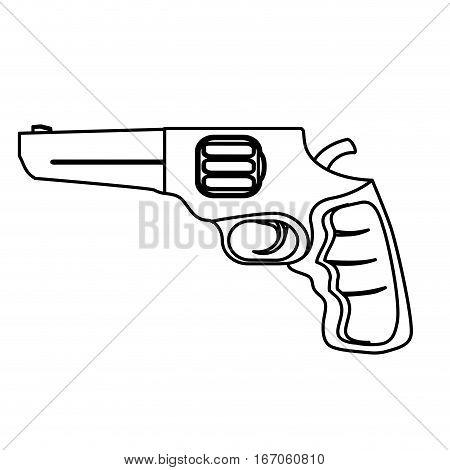 Pistol figure for civil defense, military equipment vector illustration