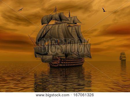 3D digital rendering of a sailing ship with a British flag sailing in the early morning