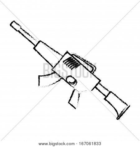War rifle silhouette for soldiers navy tool, vector illustration