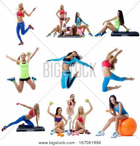 Young women doing fitness running, jumping with skipping rope and posing with fitball and dumbbells collage