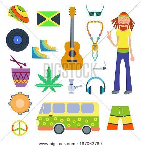 Rastafarian icons set in flat style. Marijuana smoking equipment collection vector illustration. Medicine narcotic symbols plant rastaman design.