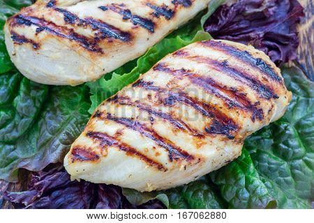 Grilled chicken breast in citrus marinade on salad leaves and wooden cutting board horizontal closeup
