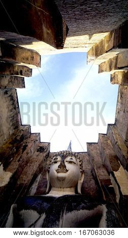 Historical Park Wat Sri Chum Temple Bhudda Statue Up