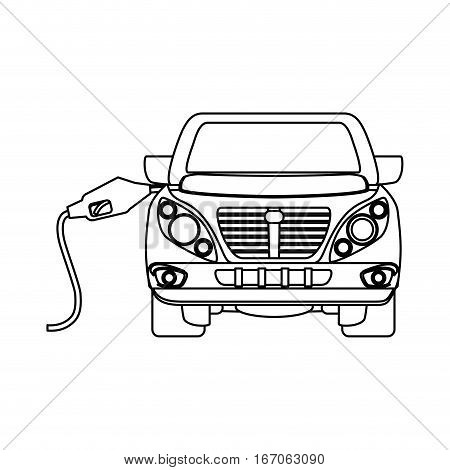 Figure refuelling gas in a car design, vector illustration image
