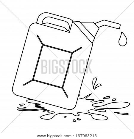 Figure Nozzle giving drop oil with spilled petroleum , vector illustration