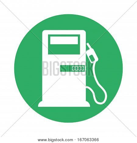 Signal fuel of pump with nozzle oil near, vector illustration