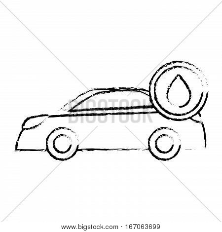 Contour car with drop oil icon image, vector illustrationWhite car with drop oil icon image, vector illustration