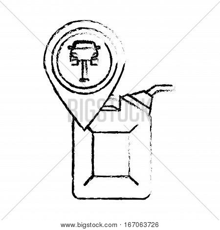 Contour oil nozzle with a symbol of car, vector illustration icon