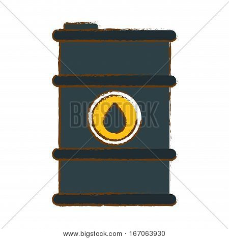 Petroleum of gray barrel with spilled oil, vector illustration design