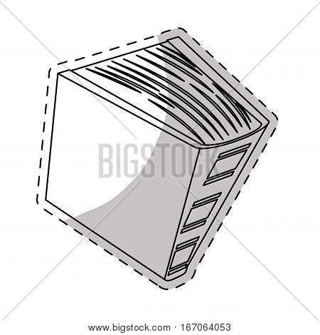 White thick book icon image, vector illustration