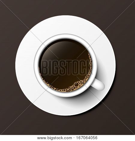Coffee cocoa cup top view on dark background. Perfect for menu vector illustration. Christmas organic warm aromatic nature graphic beverage.