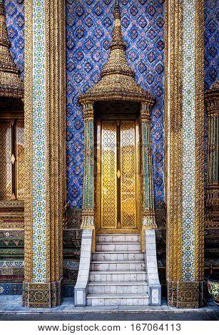 Golden Doors Of Famous Temple In Thailand