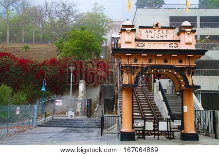 LOS ANGELES, CALIFORNIA-OCT 3, 2016: Entrance to the landmark Angels Flight in the Bunker Hill District, a car funicular railway system.