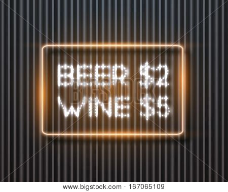 Illustration of Realistic Vector Neon Frame. Beer Vine Sale Retro Neon Sign. Glowing Neon Bar Frame