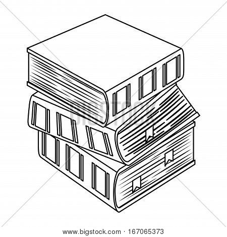 Figure three thick books one on top of other icon