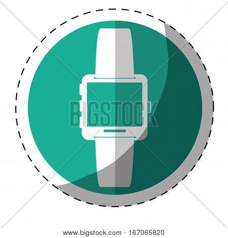 Blue symbol smartwatch button icon image, vector illustration