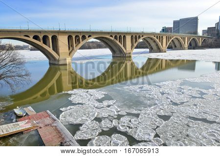 Washington DC in winter - Key Bridge over Potomac River