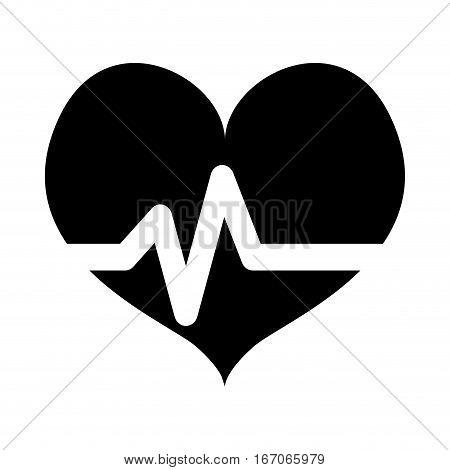 Black heard cardiology medical icon image, vector illustration