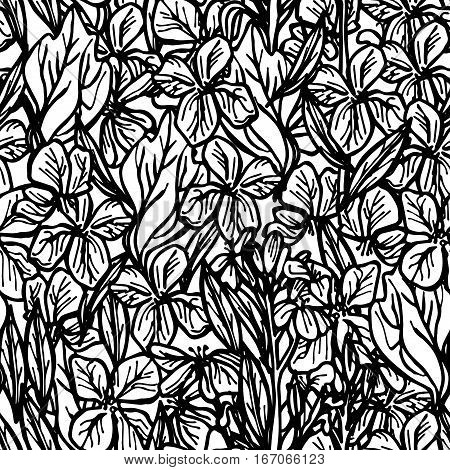 summer seamless pattern leaves and flowers sketch black outline on white background. Vector illustration
