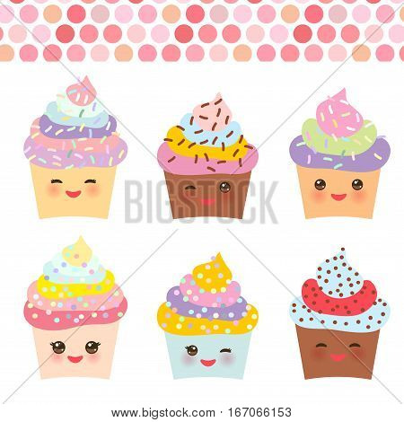 Card design with Cupcake Kawaii funny muzzle with pink cheeks and winking eyes pastel colors on white background. Vector illustration poster