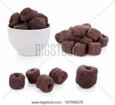 Crunchy corn chocolate snacks on a white background