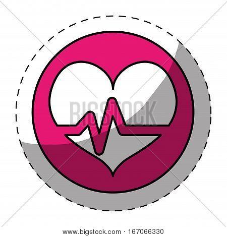Fucsia heard cardiology medical button image, vector illustration