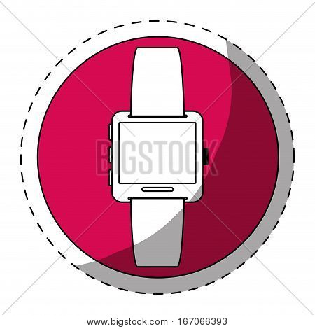 Fucsia symbol smartwatch button icon image, vector illustration